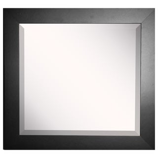 American-made Rayne Wide Black Satin Wall Mirror