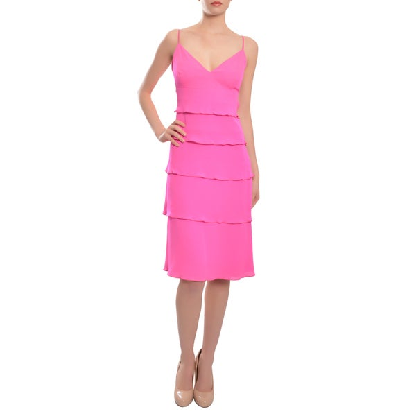 Escada Women's Flirty Magenta Silk Tiered Ruffle Dress