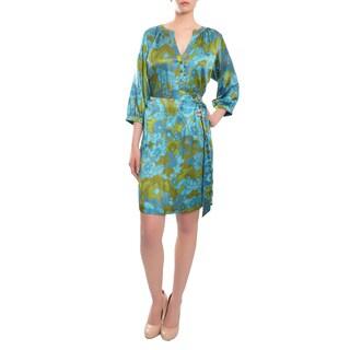 Escada Women's Tropical Floral Print Silk Belted Dress