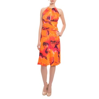 Escada Women's Orange Butterfly Print Halter Dress