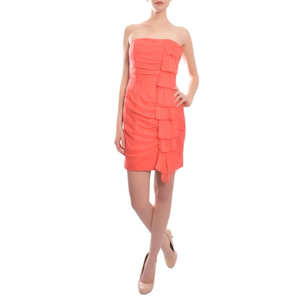 Kurt Thomas Women's Coral Silk Ruched Strapless Cocktail Dress