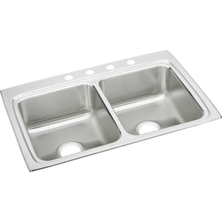 Elkay LR33224 Gourmet Lustertone Stainless Steel Double-bowl Top-mount Sink