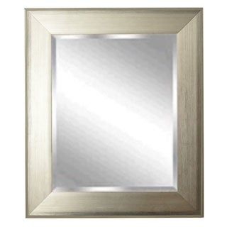 American-made Rayne Brushed Silvertone Rectangular Wall Mirror