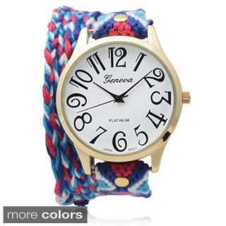 Geneva Platinum Women's Aztec Print Wrap Watch