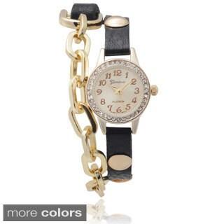 Geneva Platinum Rhinestone Accent Chain Detail Wrap Watch