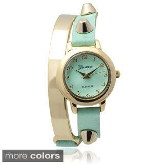 Geneva Platinum Studded Faux Leather Wrap Watch