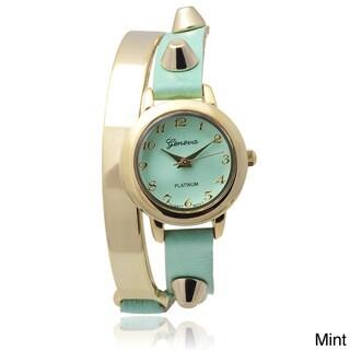 Geneva Platinum Studded Faux Leather Wrap Watch