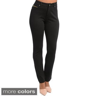 Feellib Women's Zip Front Slim Stretch Pants