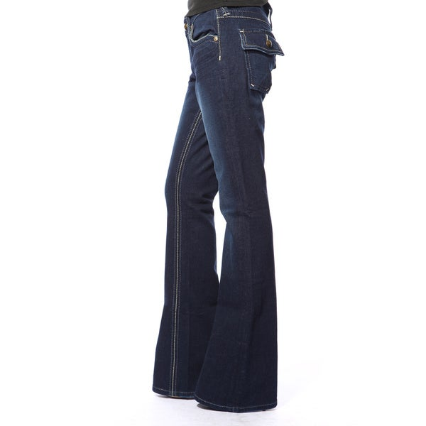 Stitch's Women's Dark Blue Premium Denim Flared Bell Jeans