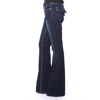 Stitch's Women's Dark Blue Premium Denim Flared Bell Jeans