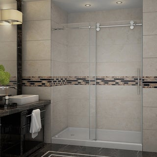 Aston 60-inch Frameless Sliding Shower Door with Left Shower Base