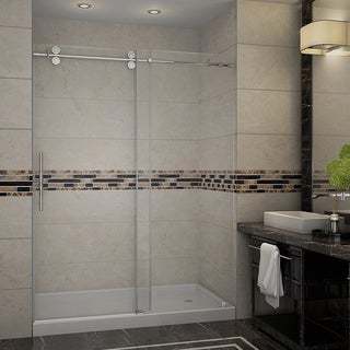 Aston 60-inch Frameless Sliding Shower Door with Right Base