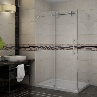 Aston 48-inch Frameless Sliding Shower Enclosure with Left Base