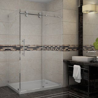 Aston 48-inch Frameless Sliding Shower Enclosure with Right Base