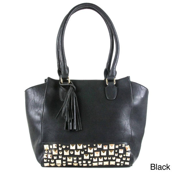 Oasis 'Delta' Pyramid Studded Satchel with Tassel