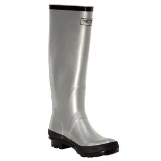 Women's Silver Black Trim Style Rain Boots