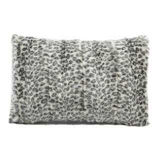 Mina Victory Faux Fur Grey/ White 18-inch Throw Pillow