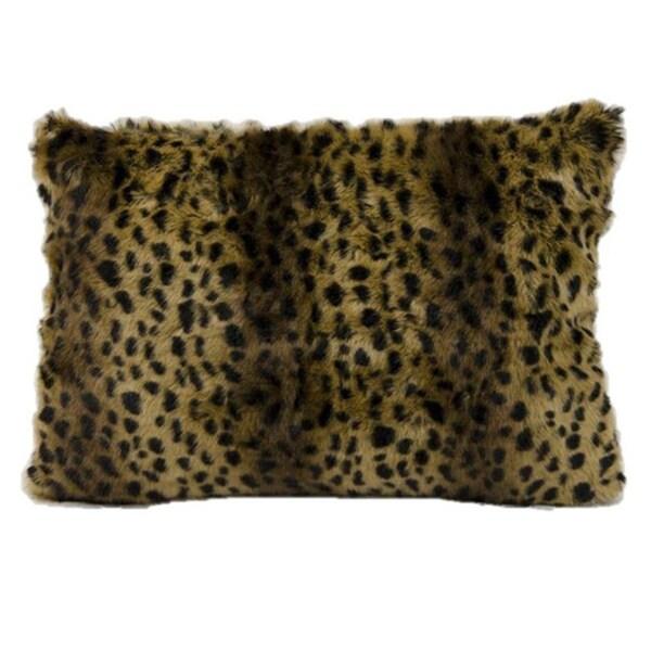 Brown Fur Throw Pillows : Mina Victory Faux Fur Brown/ Black 18-inch Throw Pillow