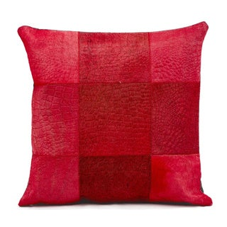 Mina Victory Red Natural Leather and Hide Patchwork Throw Pillow (18 x 18 inches)