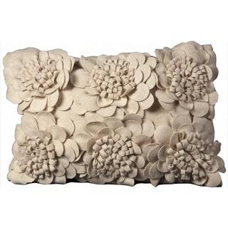 Nourison Mina Victory Off-white Floral Felt Throw Pillow
