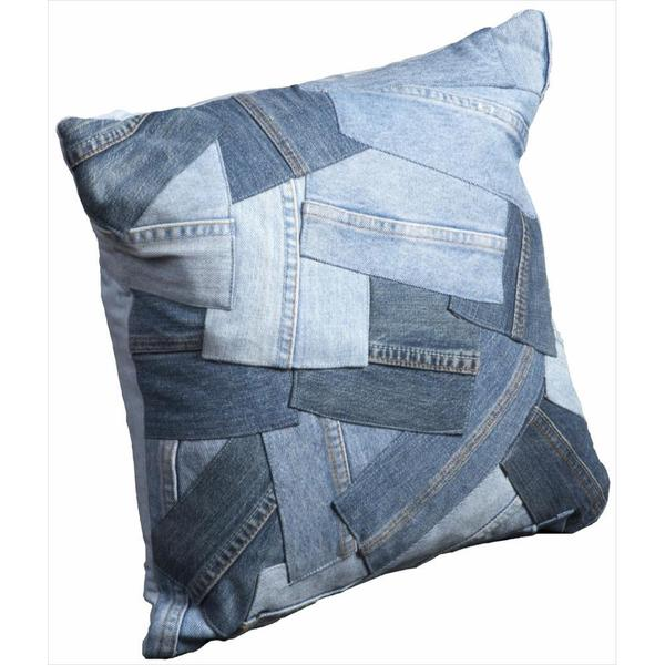 Mina Victory Denim Patchwork 16x16-inch Throw Pillow