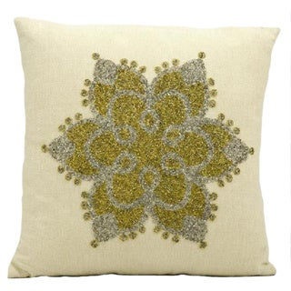 Mina Victory Luminescence Off-white Floral 16-inch Throw Pillow