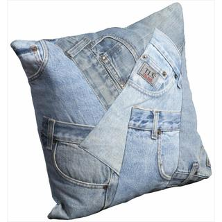 Mina Victory Denim Pockets 16-inch Throw Pillow