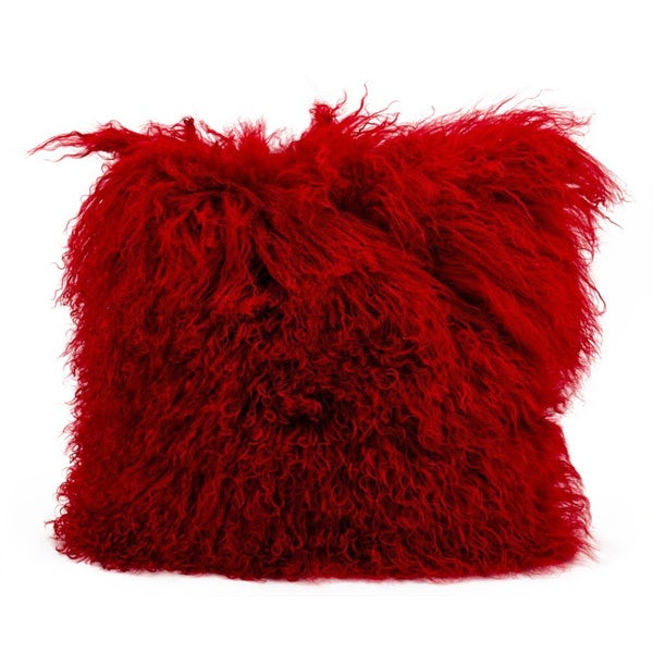 Mina Victory Genuine Fur Red 16-inch Throw Pillow