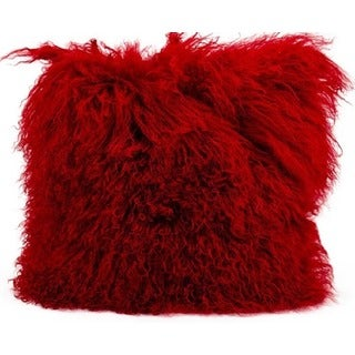 Mina Victory Couture Fur Red Throw Pillow (16-inch x 16-inch) by Nourison