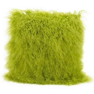 Mina Victory Genuine Fur Green 16-inch Throw Pillow