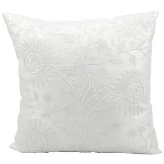 Mina Victory Lifestyle Floral White 18-inch Throw Pillow