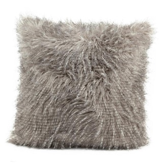 Mina Victory Faux Fur Silver 18-inch Throw Pillow