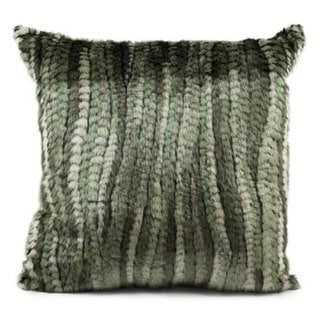 Mina Victory Faux Fur Green Stripe 18-inch Throw Pillow