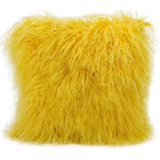 Mina Victory Couture Fur Yellow Throw Pillow (16-inch x 16-inch) by Nourison