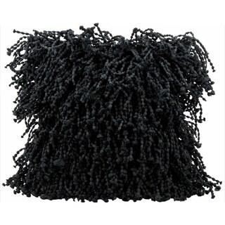 Mina Victory Shag Black 20-inch Throw Pillow