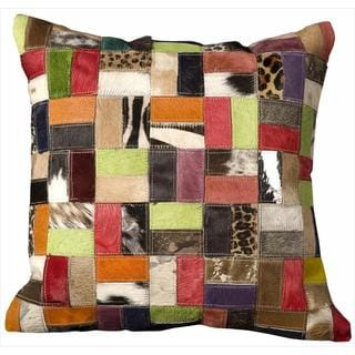 Mina Victory Natural Leather and Hide Multicolor 20-inch Throw Pillow