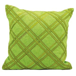 Mina Victory Natural Leather and Hide Green 20-inch Throw Pillow