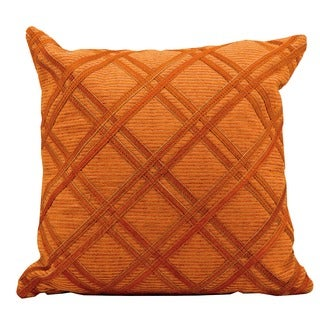Mina Victory Natural Leather and Hide Orange 20-inch Throw Pillow