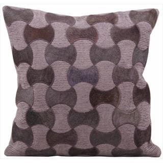 Mina Victory Natural Leather and Hide Purple 20-inch Throw Pillow