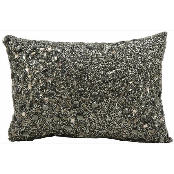 Mina Victory Luminescence Fully Beaded Pewter Throw Pillow (10-inch x 14-inch) by Nourison ...