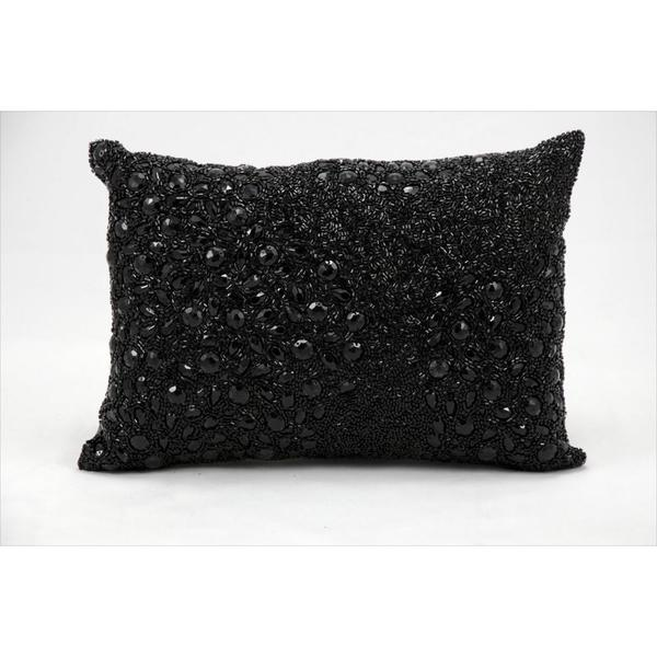 Black Beaded Throw Pillow : Mina Victory Luminescence Black Bead- and Rhinestone-embroidered Throw Pillow (10 x 14 inches ...