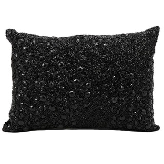 Mina Victory Luminescence Black Bead- and Rhinestone-embroidered Throw Pillow (10 x 14 inches)