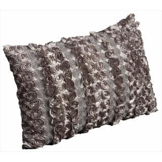 Mina Victory Luminescence Satin Rosettes and Rhinestones Throw Pillow (12 x 18 inches)