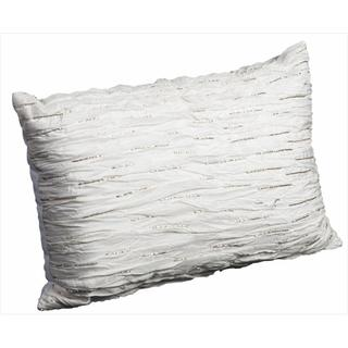 Mina Victory Luminescence White Pleated and Beaded Throw Pillow (12 x 18 inches)