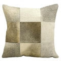 Mina Victory Natural Leather and Hide Light Patchwork Throw Pillow (18 x 18 inches)