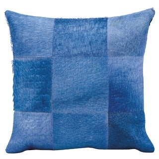 Mina Victory Blue Natural Leather and Hide Patchwork Throw Pillow (18 x 18 inches)