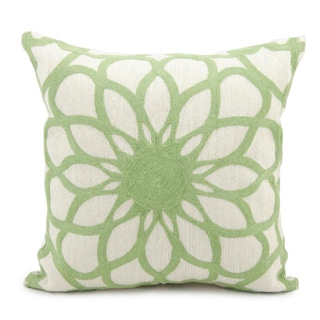 Mina Victory Lifestyle Ivory/ Green Modern Floral Throw Pillow (18 x 18 inches)