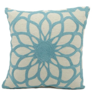 Mina Victory Lifestyle Ivory/ Blue Modern Floral Throw Pillow (18 x 18 inches)