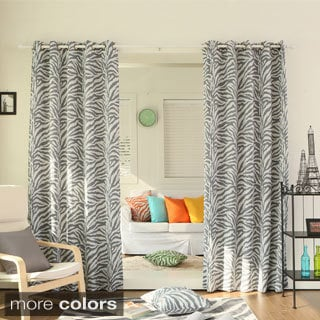 Zebra Printed Room Darkening Grommet Top 84 inch Curtain Panel Pair