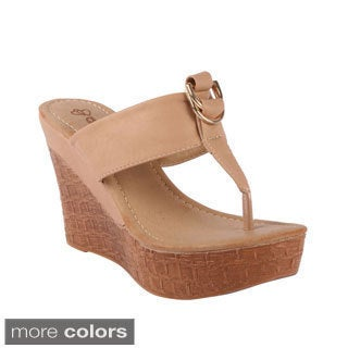 DBDK 'Lanneky-1' Women's Cork Wood-like Wedge Platform Thong Sandals